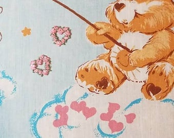 Vintage Care Bears Fabric and Heart Applaqui
