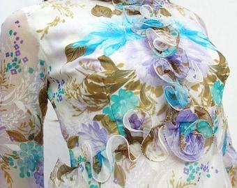 ON SALE CLEARANCE Ruffled Chiffon Maxi Dress Sz S - Vintage 70s Long White Blue Purple Floral Dress Costume Free Us Shipping