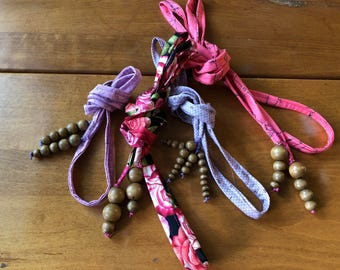 4 - Upcycled Reusable Eco Friendly Fabric Ribbon with Wood Bead Tassels
