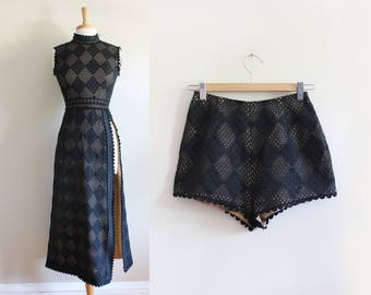 1960s Dress / Vintage Black Illusion Lace Midi Dress with Hotpants