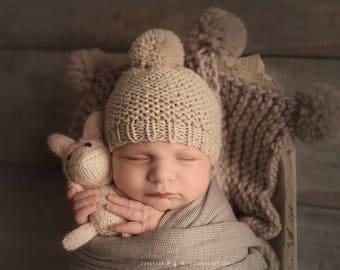 Newborn Pom Pom Hat, Baby Pom Pom Hat, Baby Boy Hat, Knit Baby Hat with Pom, Baby Pom Pom Beanie, Baby Pom Hat, Baby Pom Beanie Knit Pom Hat