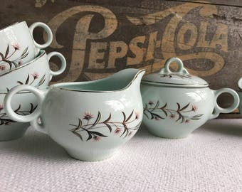 Vintage 1950s Strawflower Cups Sugar Bowl and Creamer