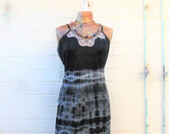 Large Tie Dye dress/Ecru Rustic Wedding/Music festival/Tie Dye Sundress/black and white shibori/Summer Festival Wear/Free People/Fairy