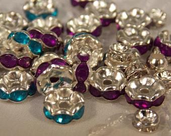 Rhinestone Spacer Beads~Purple and Aqua Spacer Beads~Lot of Aqua and Purple Rhinestone Spacers