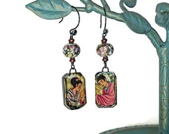 Japanese Themed Porcelain Earrings Exquisite Lampwork Beads Niobium Handmade Rosebud Accent Earwires Multicolor Two Sided Boho Chic OOAK