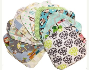 On Sale Sale - Mystery Set - 8x8 Sweet Bobbins Cloth Wipes Starter Set of 12 wipes -  Double Layer Flannel  - 8x8