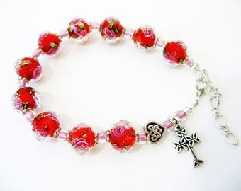St Theresa Crystal Clear Red Rose Pink Single Decade Irish Rosary CELTIC Heart KNOT Irish Bracelet-Ireland Jewelry