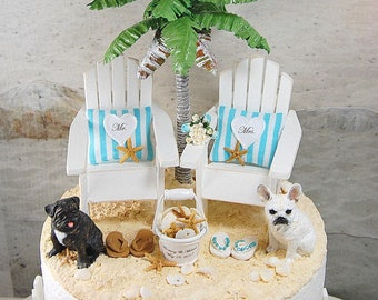 "BEACH PETS WEDDING Topper Base Attached Fits 6"" Cake Top Your Pets/Bouquet/Shell Pail Custom Made To Order Your Colors Personalized.Rustic"