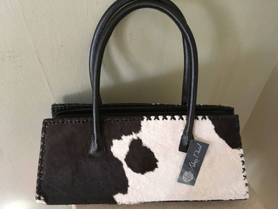 ALEXIS DAVID Retro Black and White Leather Cow Hide Handbag New With Tag Handmade in Mexico
