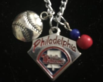 Philadelphia Phillies charm necklace 20 inch silver tone necklace, great Christmas gift , Philadelphia Phillies fans