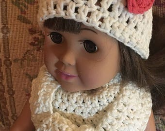 Crocheted hat and scarf will fit American girl doll or other 18 inch dolls. Crocheted heart on hat, 32 inch scarf.