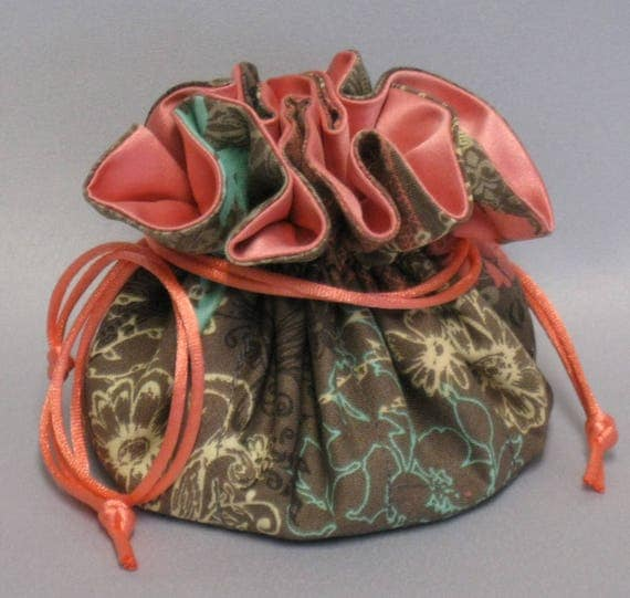 Jewelry Tote--Drawstring Organizer Travel Pouch--Paisley Floral Design---Medium Size