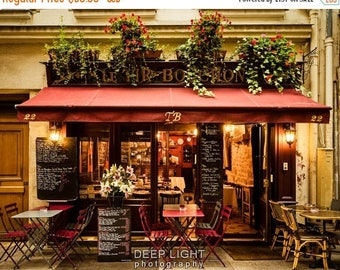 SUMMER SALE-Ends July 5- Paris Bistro Photograph Outdoor cafe Photo Paris Restaurant Paris Street scene Decor Flowers Red Wall Art par163