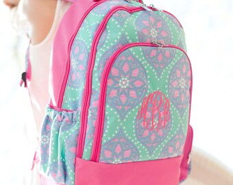 Monogrammed Mint, Lavender and Hot Pink Marlee Backpack; Back to School; Great for Girls