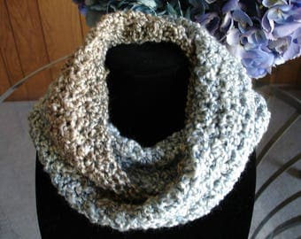 Blue/Tan/Taupe Infinity Cowl Scarf