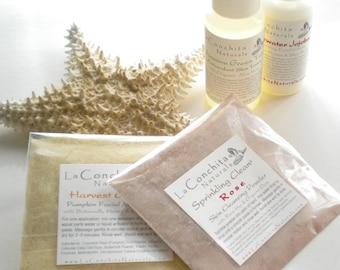 Organic Facial Care Sampler of Skin Care Regimen Essentials - Cleanse - Exfoliate - Tone - Moisturize - Create Custom Masques