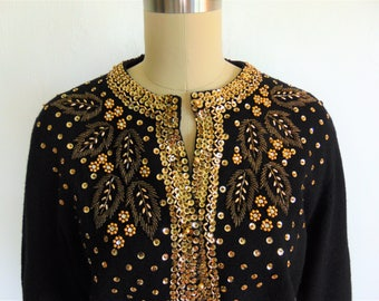 60s black wool cardigan with GOLD SEQUINS size large 44