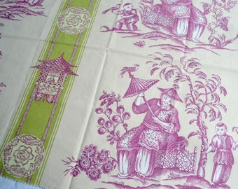 Kravet Fabric - Chinoiserie Print in Lavender and Green Toile Stripe - 22 x 24 Sample