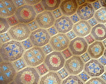 Vintage Metallic Brocade Fabric - Gold Medallions - By the Yard