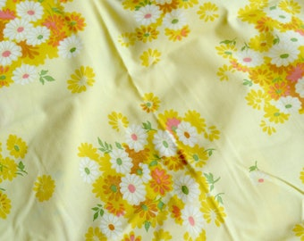 Vintage Bed Sheet - Yellow and Pink Flowers on Yellow - Pacific Twin Fitted NOS