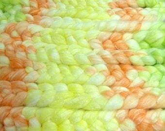 Summer Melons / Handpainted SW Merino-Bamboo-Nylon Combed Top/ 4 oz.