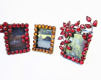"Vintage Three Mini Picture Frames Pronged Rhinestones Red Flowers Orange 2"" x 1 3/4"" Glass Boudoir Victorian Shabby Chic RocknRoll"