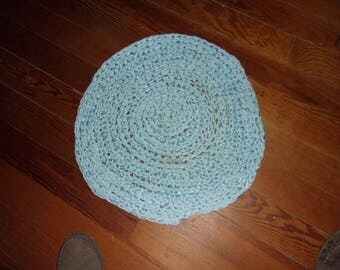 RAG RUG #3 Blue Polyester Recycled, 18X20 Inches,  Primative Farm House, Cottage, Lodge, Country, Appalachian Made,