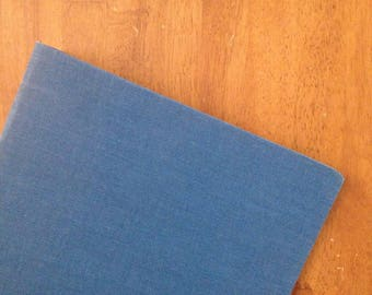 binder blue canvas cloth linen back to school vintage 3""