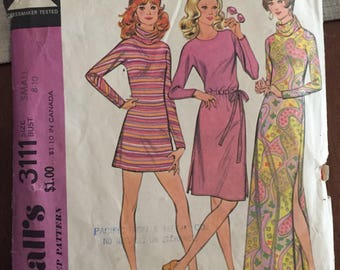 McCalls 3111 Sweater Dress in Three Lengths - size small 8-10