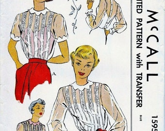 Sale:) UNCUT * 1950's McCall  Pattern 1595  *  ROMANTIC Sheer Blouses  incl Transfers  // size 18 * Bust 36