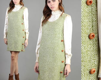 vintage 60s MOSSY GREEN wool JUMPER dress size medium M / asymm button pinafore mod hippie mini dress 1960s 70s 1970s