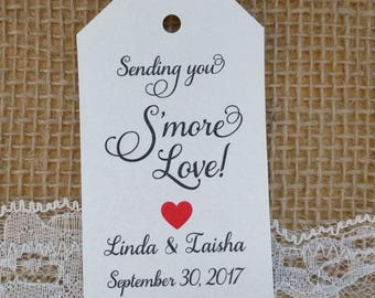 Smores Wedding Favor Tags Camp Favors Bridal Shower Favors (Tags Only) Smore Tags, Smore Wedding Favor Guest Tags, Fancy Font