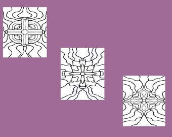 Set of Three Cross Themed Coloring Patterns Digital Downloads Art Therapy