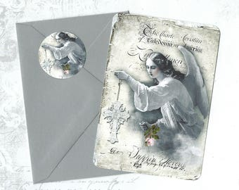 Note Cards, Religious Image, Angel, Flat Note Card Set, Angel Cards, Stickers