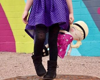 Purple gingham suspender skirt, high low