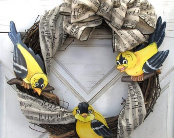 """Hand Painted Whimsical Yellow Birds on a  17"""" x 17"""" Wreath"""