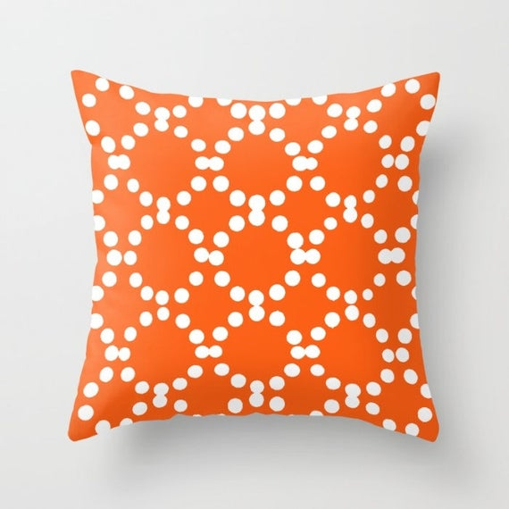 OUTDOOR Throw Pillow . Orange Outdoor Pillow . Orange patio cushion . Modern Geometric Pillow Ring Dot . 16 18 20 inch . Rectangle Pillow