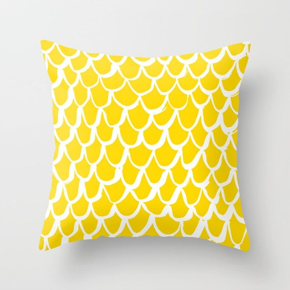 OUTDOOR Throw Pillow . Mermaid Outdoor Pillow . Yellow patio cushion . 16 18 20 inch . Yellow Mermaid Outside Pillow . Yellow Lumbar Pillow