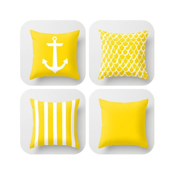 Yellow Throw Pillow . Mermaid Pillow . Anchor Pillow . Coastal Pillow . Striped Pillow . Cushion . Yellow Throw Pillow 14 16 18 20 inch