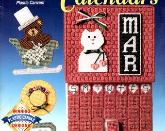 Plastic Canvas Perpetual Calendars Month Date Days Flags Sleigh Basket Flowers Snowflake Needlepoint Embroidery Craft Pattern Leaflet 913203