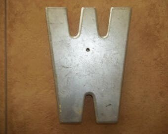 10 Inch Tall Metal Letter W  Industrial Look