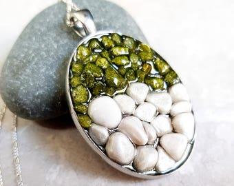 925 Silver Pebble Stone Necklace