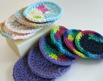 Crochet Face Scrubbies, Cotton Face Scrubbies, Make-up Remover Pads, Eco Friendly, Reusable, Face Cleaning, Cleansing Pads, Face Rounds