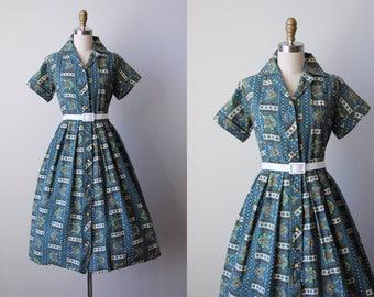 50s Dress - Vintage 1950s Dress - Blue Olive Midcentury Modern Cotton Shirtwaist Dress L XL - Orange Maid Dress