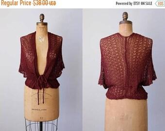 ON SALE 1970s Sweater - Vintage 70s Deadstock Moody Wine Knit Crochet Fishnet Batwing Ballet Shawl - Shadow Play Shrug