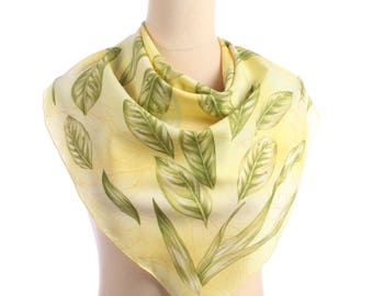Green Leaf Scarf BAY LEAF Print Neck Scarf Yellow Vintage Botanical Novelty Printed Muffler Womens Gift girlfriend Gift