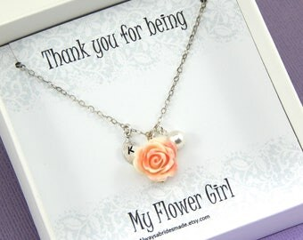 Flower Girl Necklace,Flower Girl Gift,Personalized Necklace,Flower Girl Jewelry,Junior Bridesmaids, Flower Girl Thank You Gift
