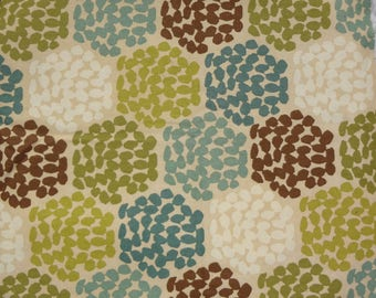 "Hexagon Print Fabric by the Yard,Beehive Pattern,45"" wide,Greens,Brown,Beige,Cream,Blues,Upholstery,Bags,Pillows,Craft Use.Free Shipping."
