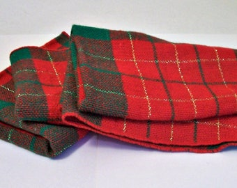 Red Green Fabric Napkins for Crafts, Gold Metallic Thread, 13 x 17, Upcycle, Recycle, Several Available