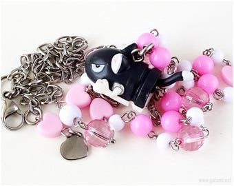Super Mario Cat Bullet Bill Necklace, Pink, White, Stainless Steel - Gamer Gifts, Gamer Jewelry, Decora